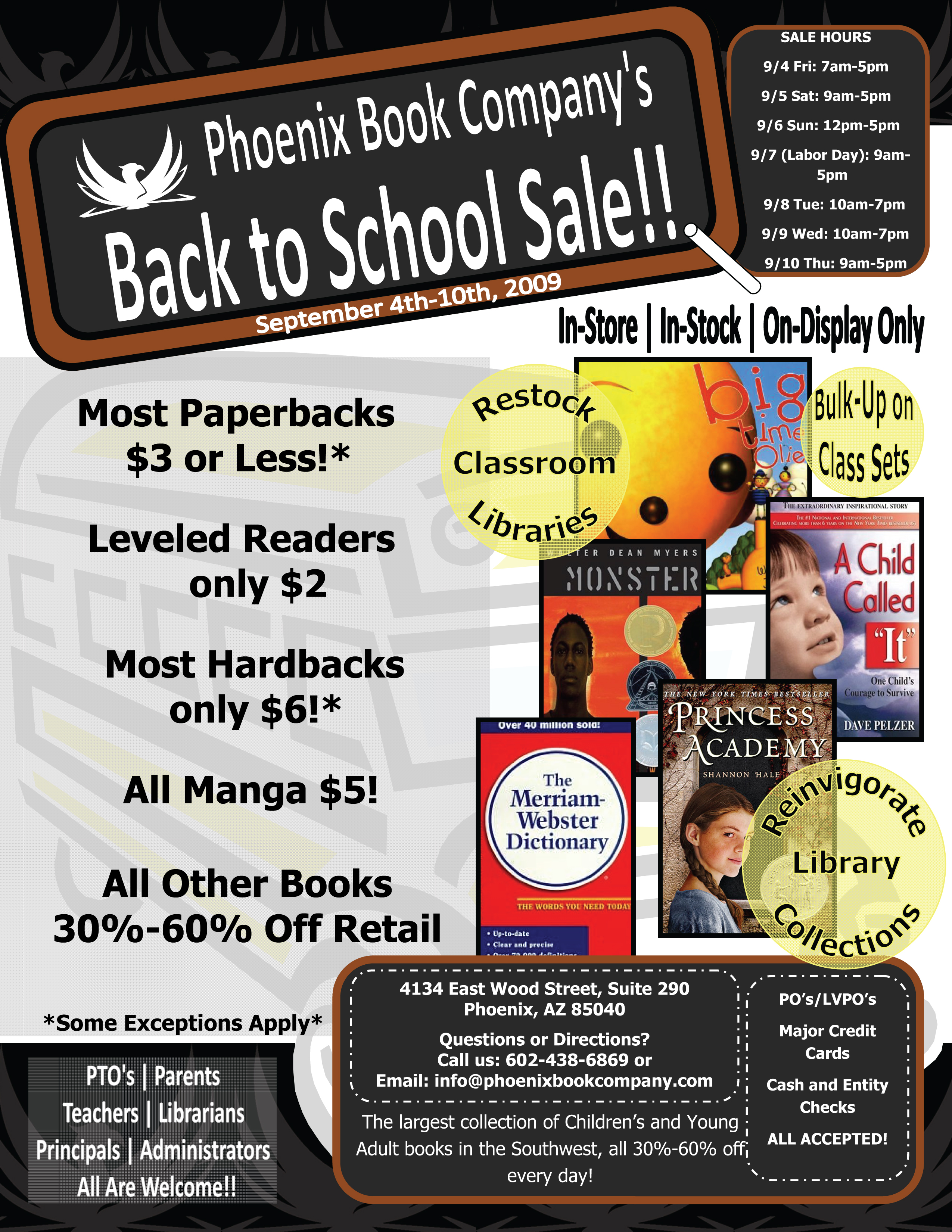 Back To School Sale at PBC